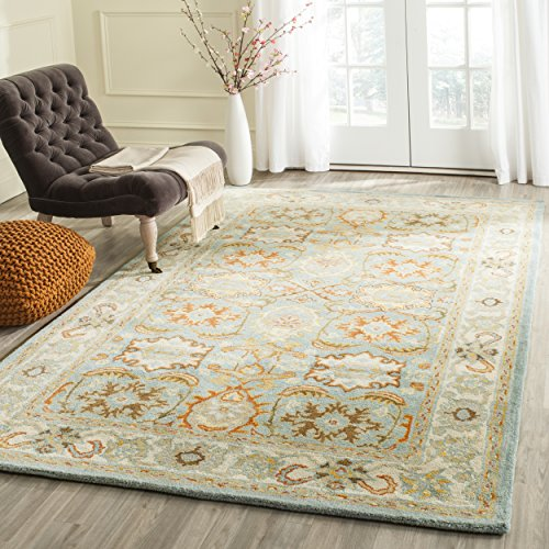 Safavieh Heritage Collection HG734A Handcrafted Traditional Oriental Light Blue and Ivory Wool Area Rug (5' x 8') by Safavieh