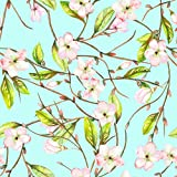AOFOTO 7x7ft Watercolor Flowers Photography Background Floral Blossoms And Green Leaf Backdrop Painted Apple Tree Branch Lovers Kid Girl Baby Adult Portrait Seamless Photo Studio Props Wallpaper