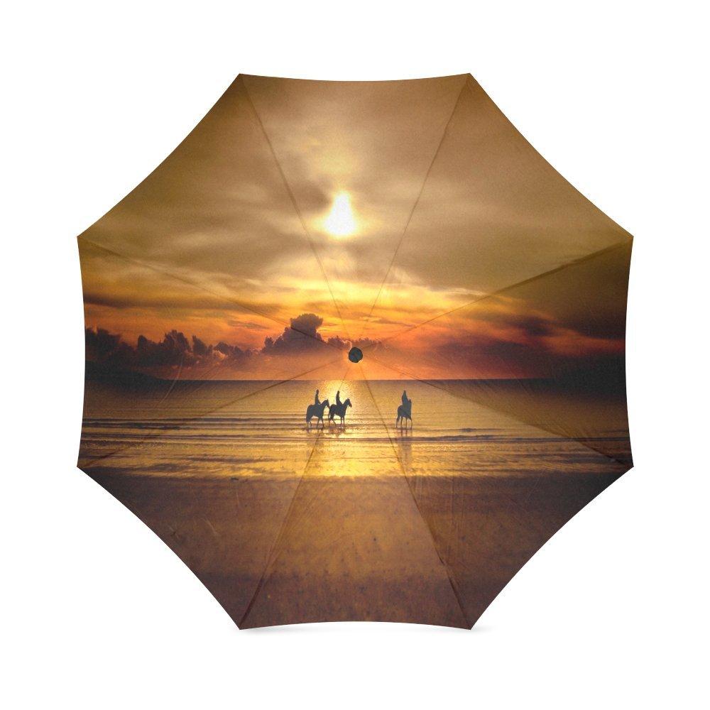 70%OFF Custom Sunset scenery Compact Travel Windproof Rainproof Foldable Umbrella