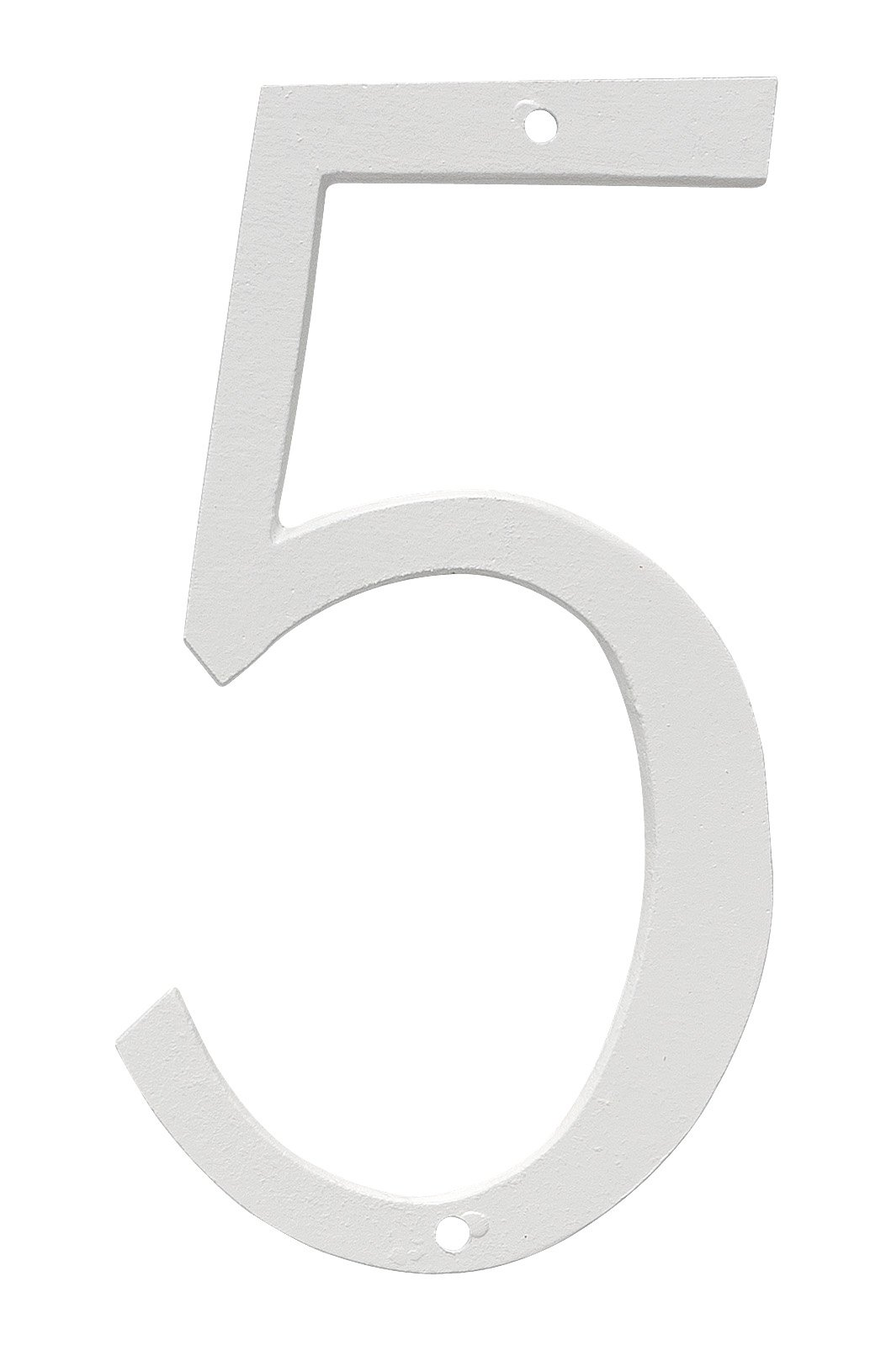 Montague Metal Products CSHN-6-5-W Aluminum House Number 5 Outdoor Plaque, Small, White