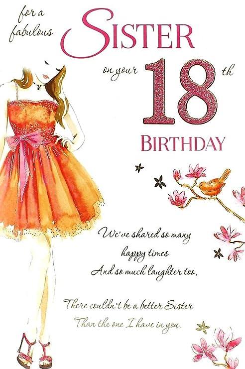 Amazon.com: Hermana 18th Tarjeta de cumpleaños: Kitchen & Dining