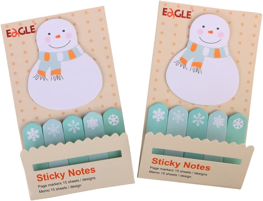 Eagle Cute Cartoon Animal Sticky Notes, Page Markers, Flags, Pack of 2 (Snowman)