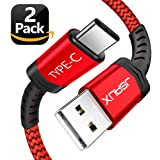 USB Type C Cable,JSAUX(2-Pack 6.6FT) USB A 2.0 to USB-C Fast Charger Nylon Braided USB C Cable for Samsung Galaxy S9 S8 plus Note 8,Moto Z Z2,LG V30 V20 G5 G6,Google Pixel XL,other USB C devices(Red)