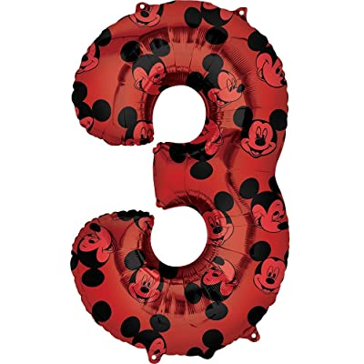 """Mickey Mouse 3rd #3 Third Birthday Red and Black Forever 34"""" Mylar Balloon: Toys & Games"""
