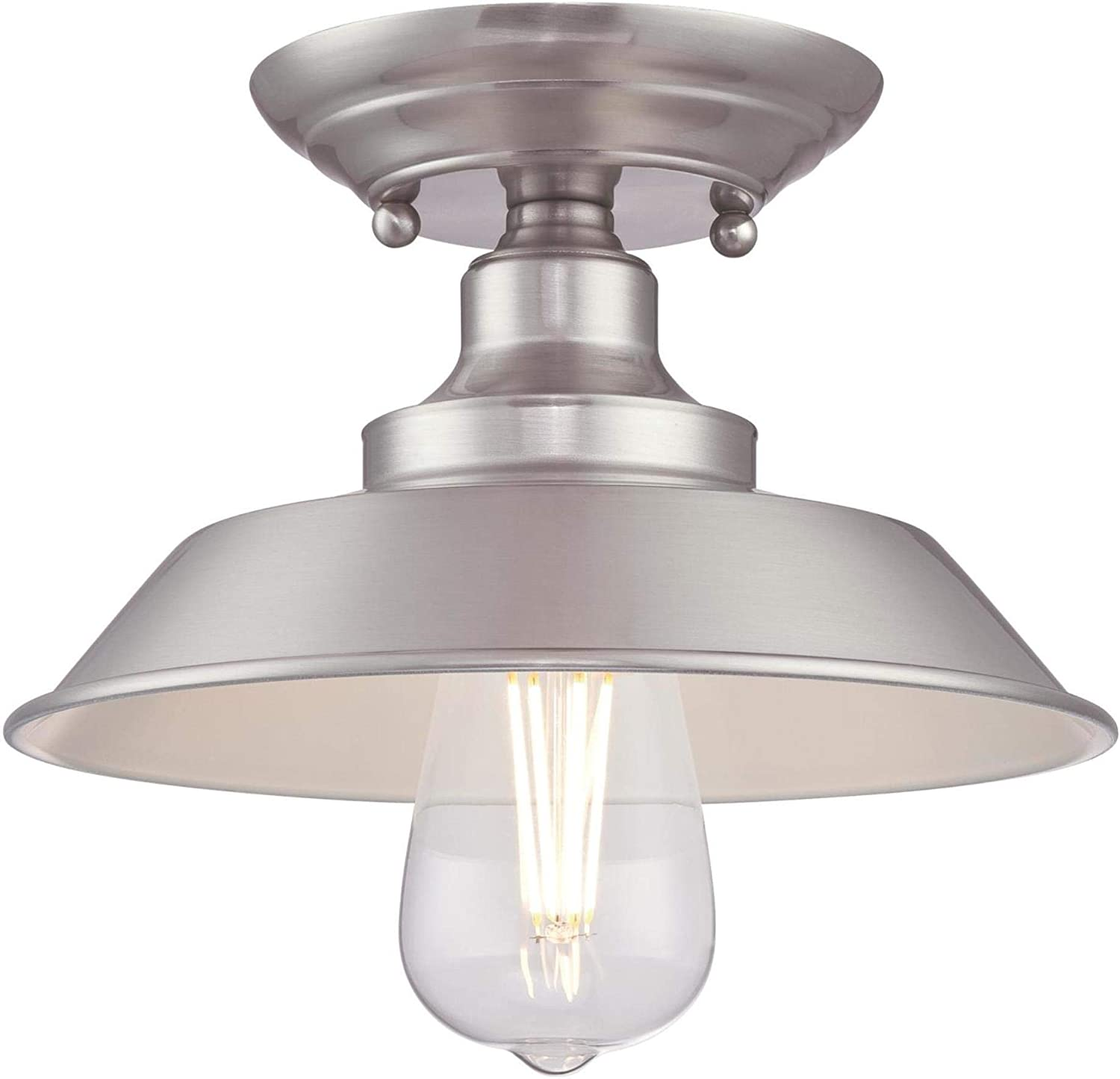 Westinghouse Lighting 6370000 Iron Hill 9-Inch, One-Light Indoor Semi Flush Mount Ceiling Light, Brushed Nickel Finish