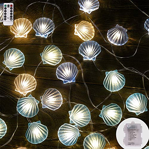 String Lights Shell Shape,13ft 40 LEDs Copper Wire Battery-Operated with Remote-8 Modes Timer for Indoor Outdoor, Wedding, Birthday Ornament, Patio, DIY Home Parties ()