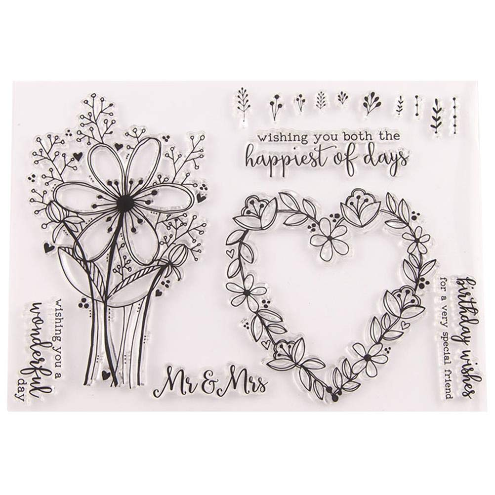 OBANGONG 5 Pcs Different Theme Friendly Phrases Pretty Patterns Silicone Clear Stamps for Card Making Decoration and Scrapbooking
