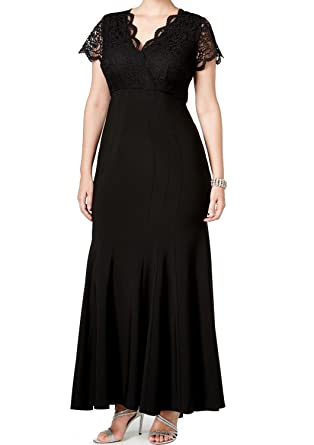 Betsy & Adam Womens Plus Lace V Neck Formal Dress Black 16W ...