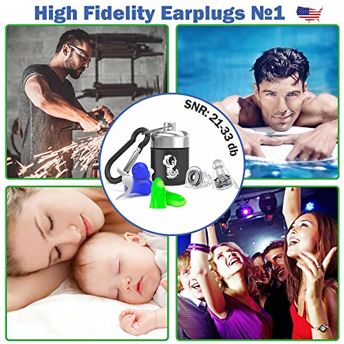 High Fidelity Earplugs Protection for Professional Musicians, DJ's at Concerts - Noise Cancelling Ear Plugs for Sleeping, Travel, Swimming, Drummers and Isolate Industrial Sounds by Zollver (Image #6)