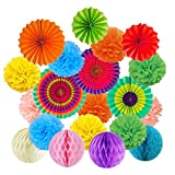 20pcs Hanging Paper Fans Set, Tissue Paper Pom Poms Flower Honeycomb Balls Garlands Decorations for Christmas Party Birthday Wedding Mexican Fiesta Events Accessories, Home Decor Supplies (Colorful)