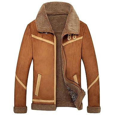 Chaqueta de cuero de los invierno masculino Abrigo de piel de oveja, coffee, xl: Amazon.es: Ropa y accesorios