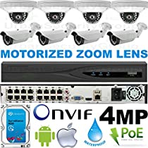USG Business Grade H.265 4MP 2592x1520 8 Camera HD Security System : Ultra 4K 32 Channel Security NVR + 4x Dome 2.8mm & 4x Bullet Motorized 2.8-12mm Cameras + 1x 4TB HDD : Apple Android Phone App