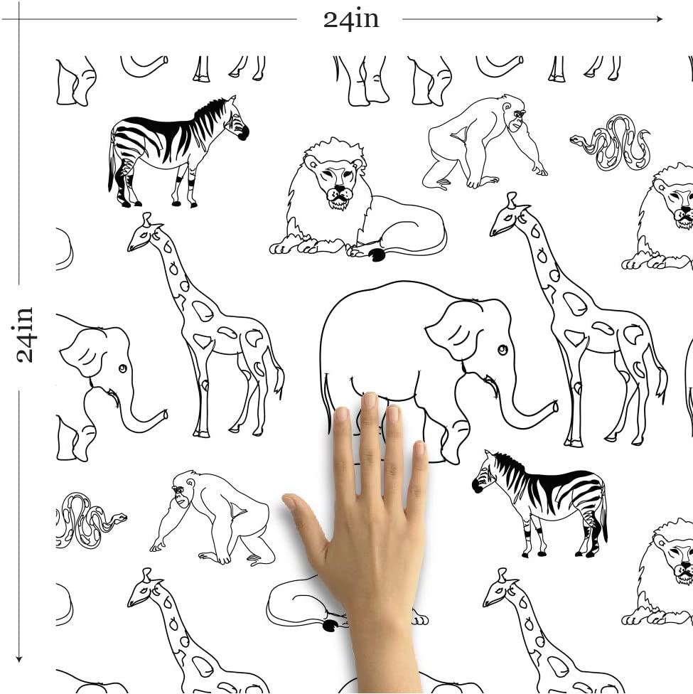 Wallsbyme Peel And Stick Black And White Animals Children Fabric Removable Wallpaper 1587 2ft X 10 5ft 61x320cm Amazon Com