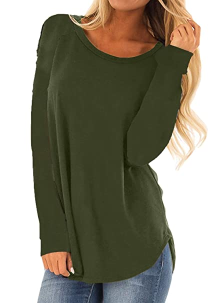 4e006c66558 MISSLOOK Women s Long Sleeve Shirts Basic Tee Tops High Low Loose Crew Neck  Casual Tunic -