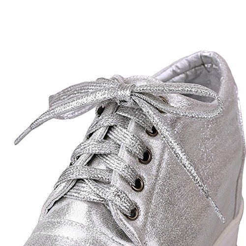 VogueZone009 Women's Solid PU High-Heels Round Closed Toe Lace-up Pumps-Shoes Silver 966xWj06r