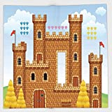 Cotton Microfiber Hand Towel,Children,Video Game Background with Castle Leisure Hobby Activity Kids Youth Design,Light Caramel Blue,for Kids, Teens, and Adults,One Side Printing