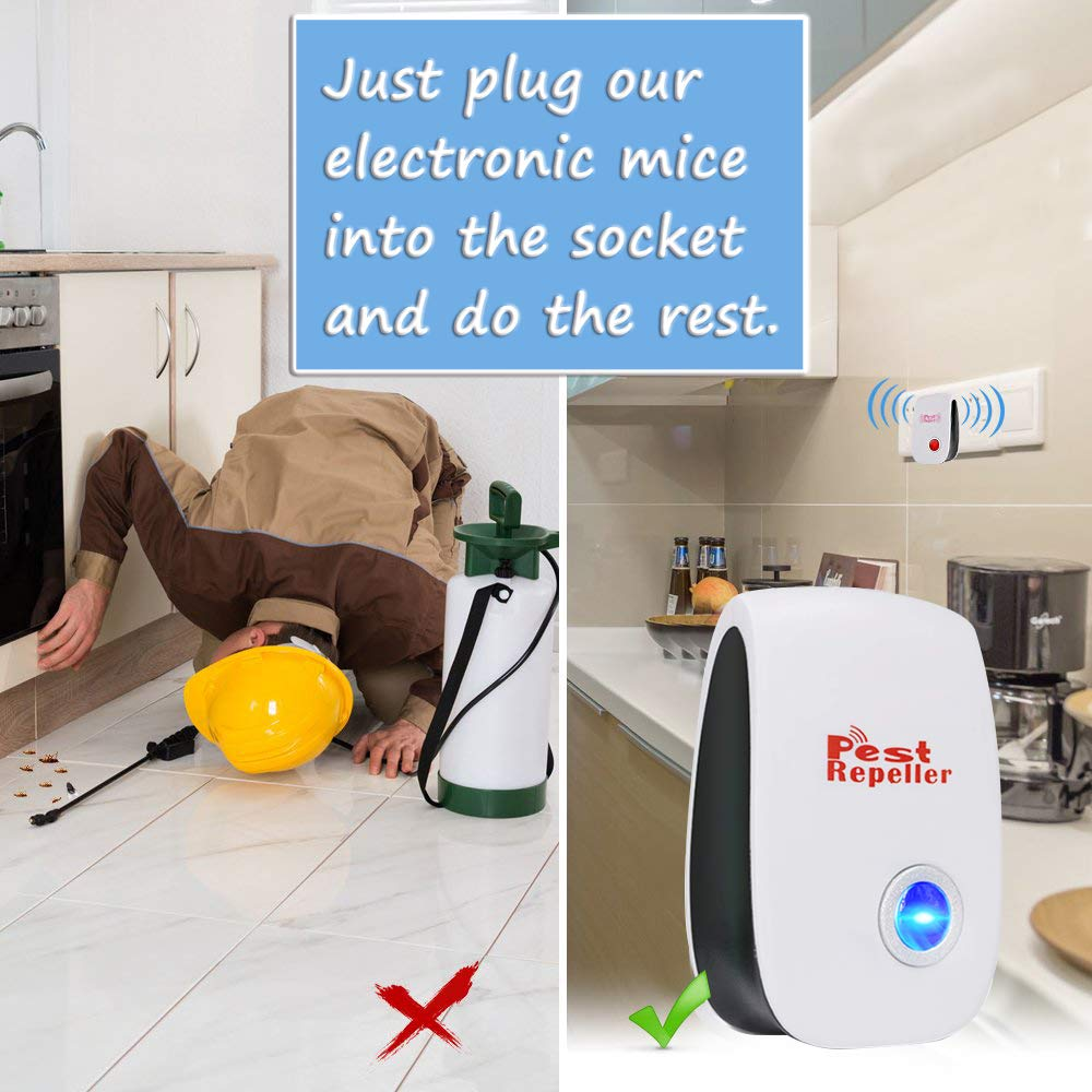 2-Pack Repelente Ultras/ónico Mosquitos Control de Plagas para Las Moscas,Cucarachas,Ara/ñas,Hormigas,Insectos Antimosquitos El/éctrico Extra Fuerte para Interiores