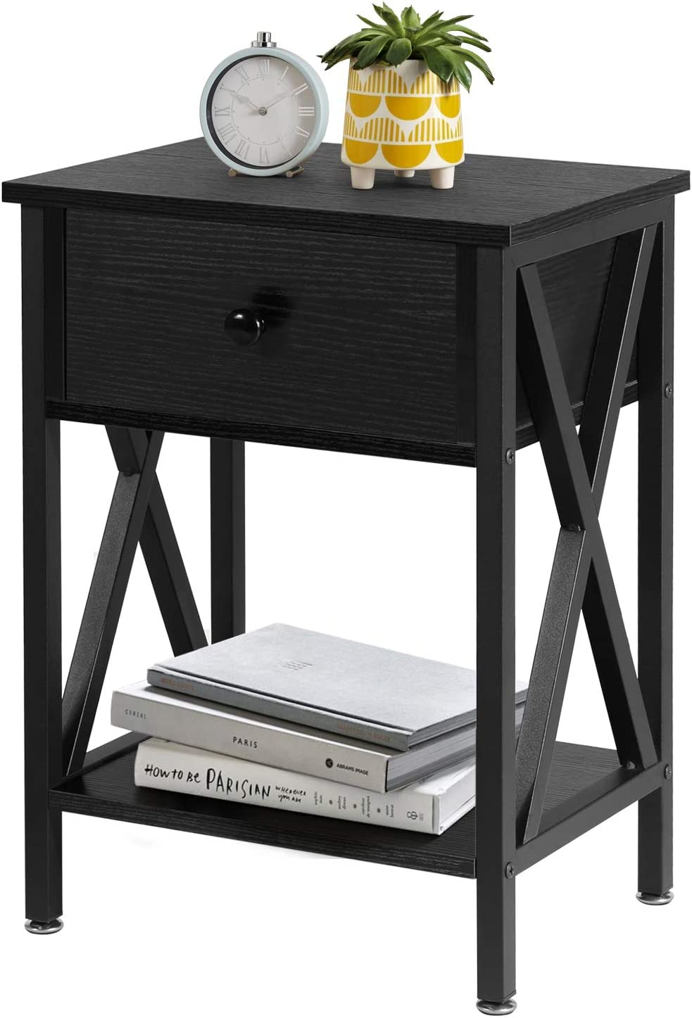 VECELO Versatile Nightstands X-Design Side End Table Night Stand Storage Shelf with Bin Drawer for Living Room Bedroom, Oak