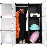 Finether 9-Cube Armoire Penderie Storage Modulable Meuble Étagères de Rangement DIY avec Portes Translucide Blanc Portes pour Vêtements Chaussures Jouets Livres Bibelots