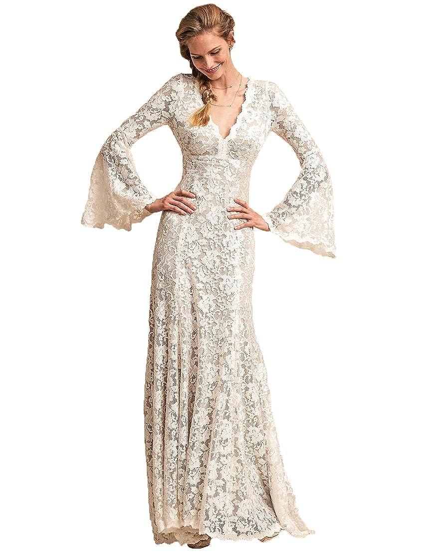 Graceprom Elegant Bohemian Lace Wedding Dress Long Sleeves Mermaid