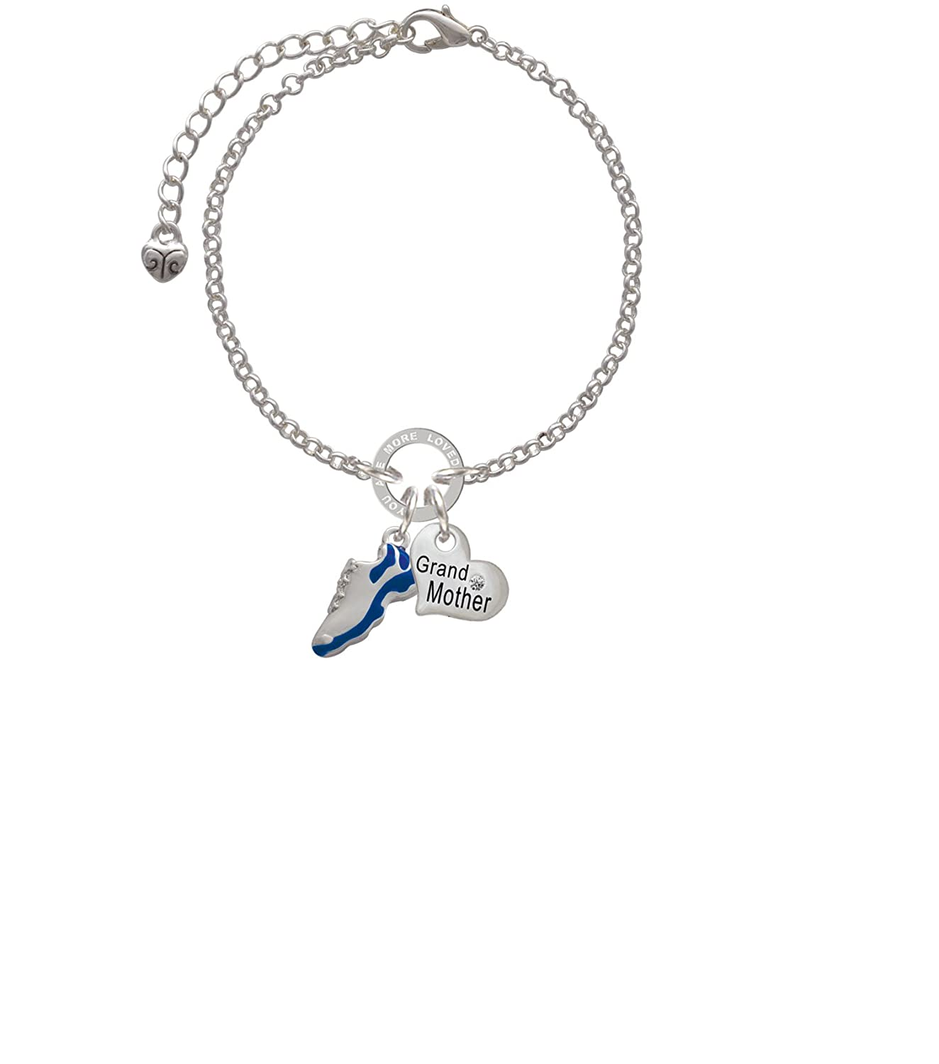 Silvertone Blue Running Shoe Grandmother You Are Loved Circle Bracelet 8