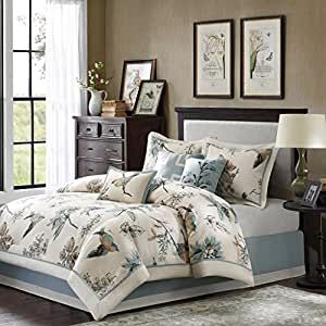 Madison Park Textiles Quincy 7 Piece Comforter Set, Queen, Khaki