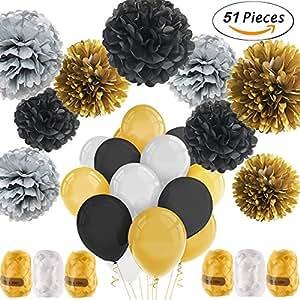 51pcs Party Decor Kit, 9 Pom Poms de papel, 36 Globos de látex, 6 Roll Ribbon, para la boda, cumpleaños, bebé, ducha nupcial, primer cumpleaños decor decoración del partido (Serie negra)