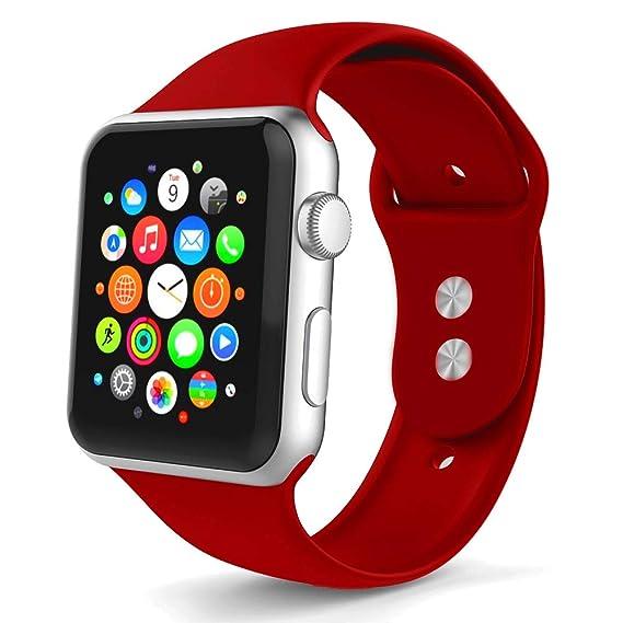 Tounique - Correa de Reloj para Apple Watch, Correa de Repuesto de Doble Color Perforada