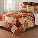 2 Piece Brown Rustic Twin Size Quilt, Red Brown Damask Floral Pattern, Yellow French Country Shabby Chic Autumn Lodge Cabin, Vintag Cottage, Cotton, Polyester