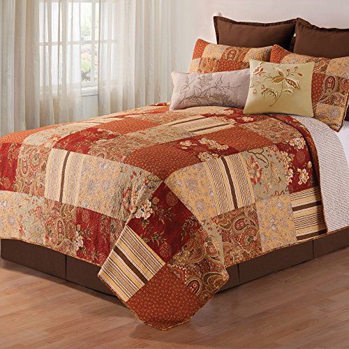 2 Piece Brown Rustic Twin Size Quilt, Red Brown Damask Floral Pattern, Yellow French Country Shabby Chic Autumn Lodge Cabin, Vintag Cottage, Cotton, Polyester by OSK