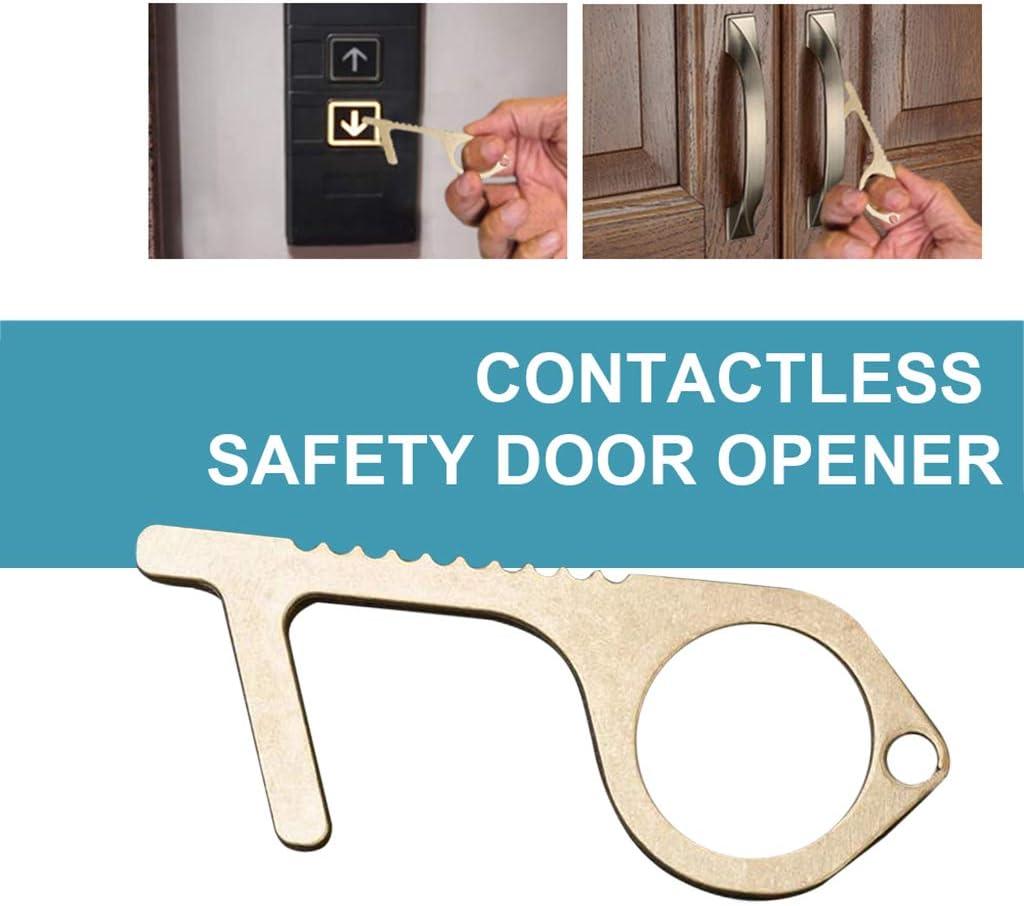 ABCOnline Contactless Safety Door Opener Safety Protection Isolation Brass Key Door Opener 3pcs, 7x3x0.5CM