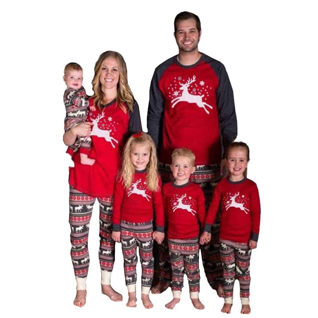 Family Matching Christmas Pajamas Set Deer Tops and Long Pants Sleepwear Homewear for Men Women Kids