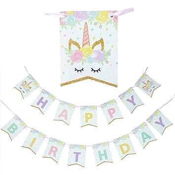 Clerfy Acc Feliz Cumpleaños Pancartas Decoración De Fiesta ...