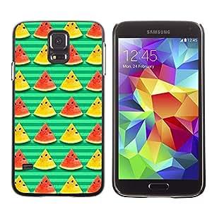 For Samsung Galaxy S5 I9600 G9009 G9008V - Watermelon Bright Stripes Food /Modelo de la piel protectora de la cubierta del caso/ - Super Marley Shop -