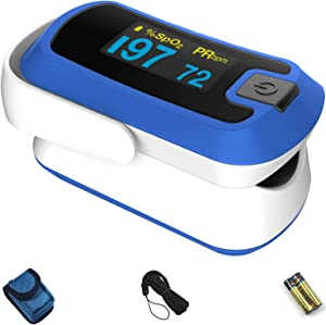 mibest OLED Finger Pulse Oximeter, O2 Meter, Dual Color White/Blue