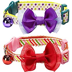 """Blueberry Pet Pack of 2 Cat Collars, Clean Dots & Stripes Adjustable Breakaway Cat Collar with Bow Tie & Bell, Neck 9""""-13"""""""