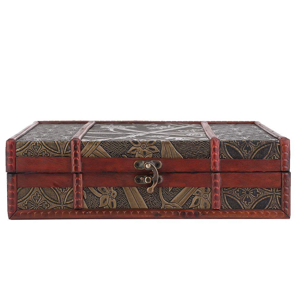 Wooden Cosmetic Storage Box--Vintage Style Classical Wooden Case Jewelry Storage Display Box Container Decorative Card,Jewelry,Trinket,Collection,Gifts Home Decoration Bronze 28×21.5×8cm(Narcissus)