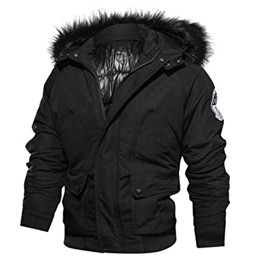 Mens Bomber Jacket,Winter Thickening Windbreaker Windpoof Jackets Pullover with Fux Hood Zulmaliu (Black