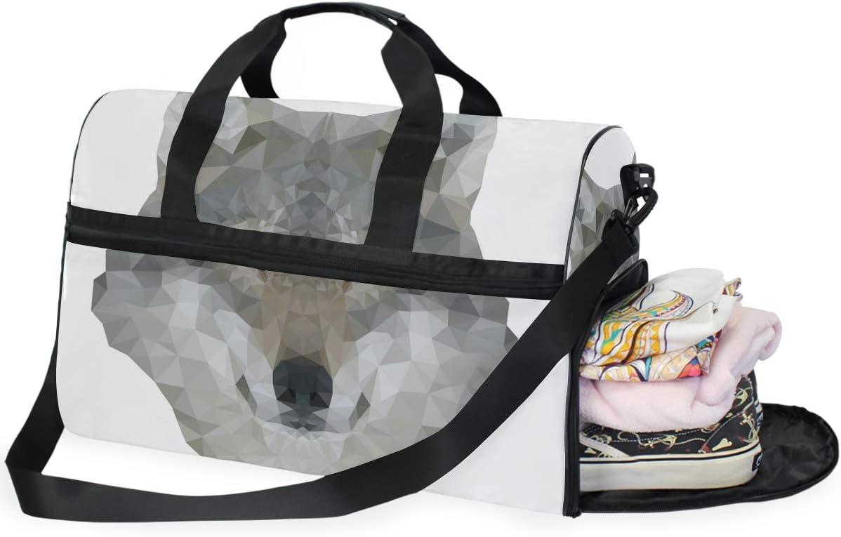 FANTAZIO Wolf Geometric Pattern Sports Bag Packable Travel Duffle Bag Lightweight Water Resistant Tear Resistant