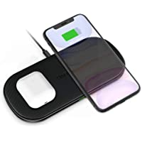 Cargador Inalámbrico Doble,CHOETECH 5 Bobinas Dual Fast Wireless Charger Qi Cargador Rápido 7.5W para iPhone11/11Pro/11ProMax/XR/Xs Max/X/8/,10W para Note10/S10/S9 y 5W para Huawei Mate 30pro,Airpods2