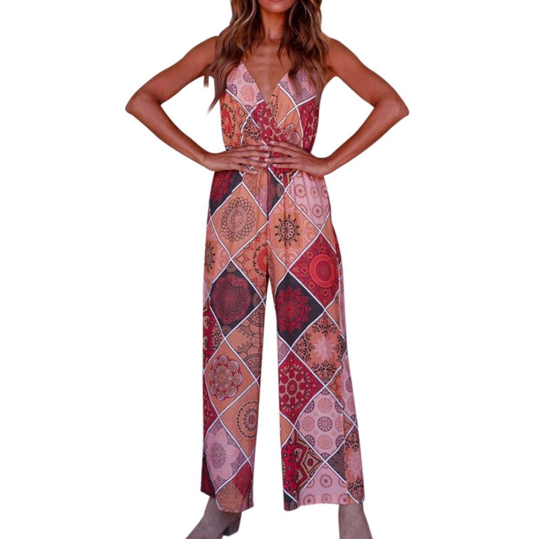 Hmlai Jumpsuit Wide Leg Pant, Women's Fashion Boho Floral Print Sleeveless Spaghetti Strap V Neck Romper (XL, Red)
