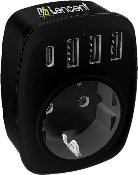 LENCENT Ladron Enchufes, Cargador USB de Pared con 1 Toma de CA (Schuko Europeo de 2