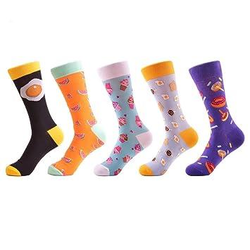 FHCGWZ 5 unids/Set Novedad Donut Patrón de Huevo Mujeres Calcetines Divertidos Causales Señoras de Algodón Calcetines de Boda Femeninos Lindos para: ...