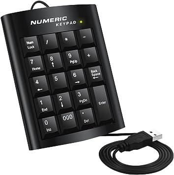 Teclado numérico, Dland ergonómicos USB 19 Teclas numéricas del Teclado numérico Pad Número Teclado Externo para Windows PC de sobremesa Portátil
