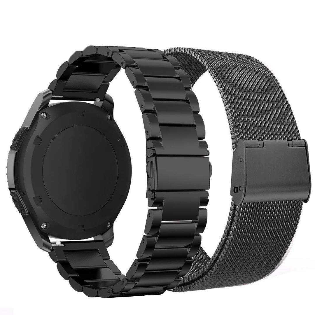 Kartice Compatible with Samsung Galaxy Watch (46mm) Bands 22mm Metal Strap fit for Samsung Galaxy SM-R800 Smartwatch (Black)