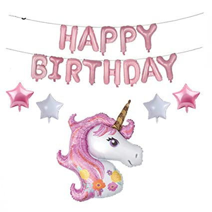 Amazon 46Inch Large Unicorn Balloon With Happy Birthday Letter