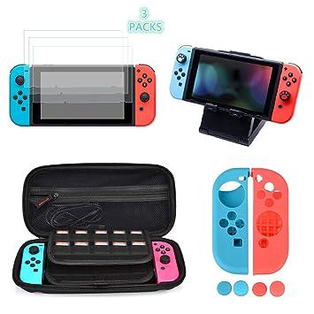 6ace492d15a OIZEN Kit de Accesorios para Nintendo Switch, Kit Protección para Nintendo  Switch, Funda para Nintendo Swtich/Soporte Regulable/3 Protector de ...