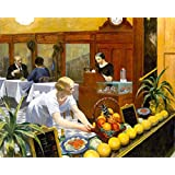 """Table for Ladies Bar Restaurant Fruits Meat Waiter By Edward Hopper American Painter 18"""" X 22"""" Inches Image Size Poster Reproduction ON PAPER. Shipped Rolled Up. We Have Other"""
