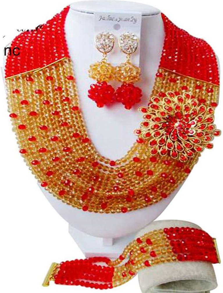 Cuentas africanos champán oro, perlas de joyería de la boda joyería fija el conjunto de novia 8