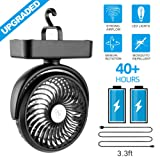 Amacool Portable Battery Camping Fan with LED Lantern - Rechargeable 4400mAh Battery Operated USB Desk Fan Kit with Hanging Hook for Tent Car RV Hurri